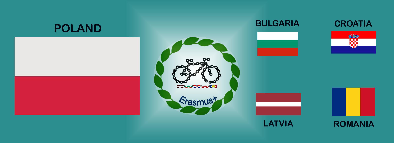logo erasmus+ oraz flagi Bułgarii, Chorwacji, Łotwy, Polski, Rumunii