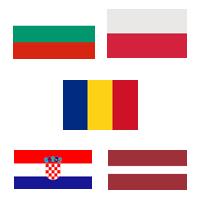 obrazek z flagami Bułgarii, Polski, Rumunii, Chorwacji, Łotwy